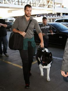 Another reason to love Henry......Henry Cavill with akita