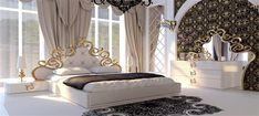 Lüx Avangard Yatak Başlıklı Saray İhtişamlı Beyaz Yatak Odası Mobilyası