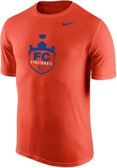 Nike FC Cincinnati Mens Orange Legend Crest Performance Tee