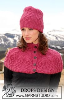 """DROPS hat and shoulder wrap in """"Alpaca"""" and """"Kid-Silk"""" with cables. ~ DROPS Design(#2 weight yarn)"""