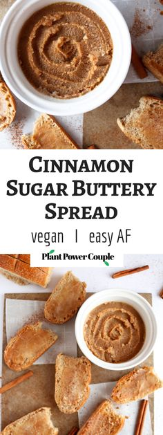 This vegan cinnamon sugar buttery spread is so easy to make and delicious on everything from pancakes to baked goods to your morning toast! Healthy Vegan Dessert, Cake Vegan, Vegan Breakfast Recipes, Vegan Sweets, Vegan Desserts, Vegan Sauces, Vegan Foods, Vegan Keto, Vegan Life