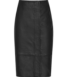 Womens Black Leather Wrap Skirt - Reiss Esme