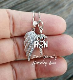 100% Genuine Pure Solid .925 Sterling Silver RN Nurse Angel Wing CZ Charm Pendant Chain Necklace Women's Nursing Jewelry Gift ~ #Handmade #Jewelry #Gift