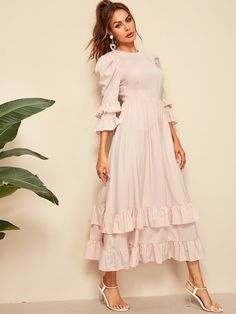 To find out about the Flounce Sleeve Layered Ruffle Hem Fit & Flare Dress at SHEIN, part of our latest Dresses ready to shop online today! Indian Gowns Dresses, Indian Fashion Dresses, Dress Indian Style, Girls Fashion Clothes, Modest Dresses, Stylish Dresses, Simple Dresses, Casual Dresses, Fashion Outfits