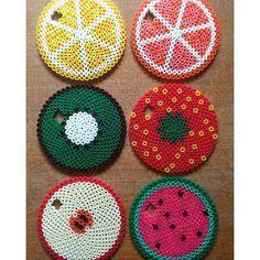 Fruit glass cover/coaster hama beads by ginasophiekat