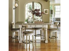 Lexington Oyster Bay Hidden Lake Bistro Table and Merrick Swivel Counter Stool Set - Hudson's Furniture - Pub Table and Stool Sets