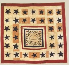 Union quilt. Elizabeth Moffitt Lyle, 1860-1864, Kewanee, Illinois. Collection of the Smoky Hill Museum, Salina, Kansas. Photo courtesy of the Kansas Quilt Project.