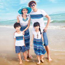 Подлинным мать дочь платья волновая картина семьи соответствующие одежда летом хлопка майка семья взгляд пляж носить 2016 пляжные платья детские платья длинные платья мама и дочка платья(China (Mainland))