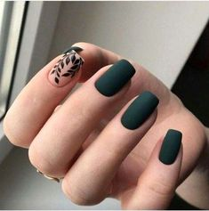 Fantastic Green Nail Art Designs Ideas Designer nails can really make you look fashionable and chic. Nail art is one way to make your nails look […] Matte Green Nails, Green Nail Art, Matte Nail Polish, Autumn Nails, Winter Nails, Acrylic Nails Green, Acrylic Nails For Fall, Nail Art Vert, Cute Nails