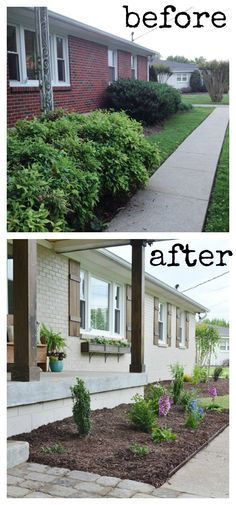 Painted brick exterior Ranch House Lowes Home Exterior Makeover Reveal Painted Brick Pinterest 81 Best Painted Brick Ranch Images In 2019 Facades House House