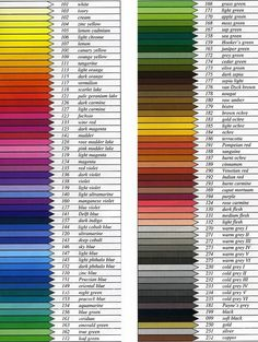 Color Pencil Drawing Tutorial Faber Castell Polychromos color chart listing color names and numbers Pastel Pencils, Coloured Pencils, Color Mixing Chart, Colour Chart, Color Names Chart, Colour List, Polychromos, Colored Pencil Techniques, Coloring Tips