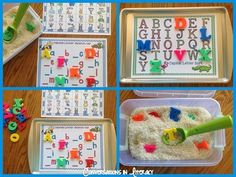Love this idea! Make your own alphabet chart. Laminate and then use sticky magnets to put on cookie sheet. You can then swap out for other uses.