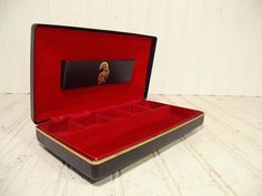 Vintage Black Leatherette Jewelry Box Gold Knight by DivineOrders, $24.00