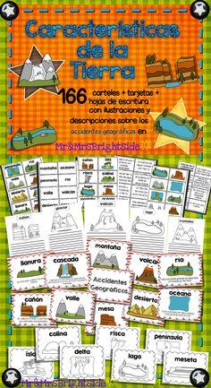 Caracteristicas de la Tierra : Landforms posters & activity cards in #spanish !! 166 pack: activities come in color and black/white; perfect for bilingual and dual language classrooms.  #bilingual #socialstudies #TPT #landforms estudios sociales