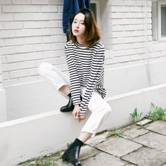 long sleeved striped shirt