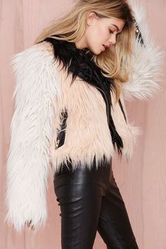 Chaser Block Party Faux Fur Moto Jacket | Shop The Party Shop at Nasty Gal