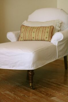 Custom Slipcovers by Shelley: White Denim Chaise - just finished one similar to this :)