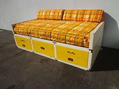 Campaign Daybed Storage Sofa Couch Seating Vintage by DejaVuDecors