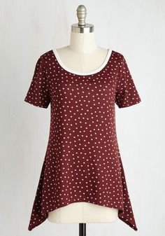 By and Lodge Top in Burgundy Dots - Red, Polka Dots, Print, Casual, Knit, Good, Scoop, Mid-length