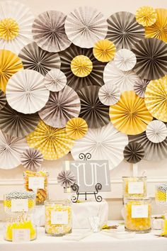 Love yellow and grey and pinwheels....great ideas for papers decorations here