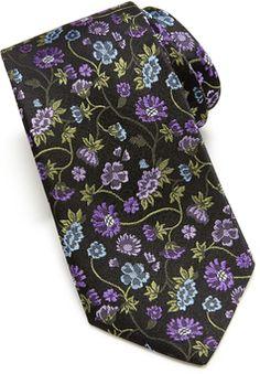 Neiman Marcus Floral Pattern Silk Tie, Black/Purple - 40% off, now $23.4 @ #LastCallByNeimanMarcus  #NeimanMarcus