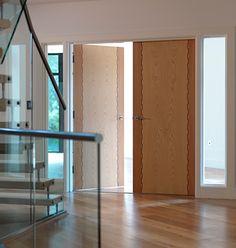 Honduras Internal Door  Beech stiles with oak centre panel and walnut castellated grooves.