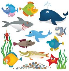XOO Plate :: Cartoon Sea Creatures Vector Graphics - Set of cartoon sea creatures with cute expressions - vector graphics.