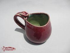 Mug  Burgundy and Green by MudbugCreations on Etsy, $15.00