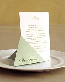 Wedding Place Cards That Are Truly Unique Use an easy origami fold to create a stand for the menu ca Wedding Menu Cards, Wedding Stationary, Wedding Table, Diy Wedding, Wedding Invitations, Diy Menu Cards, Wedding Ideas, Wedding Vintage, Wedding Gowns
