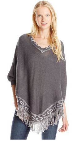 V-Neck Poncho Sweate