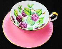 Aynsley Pink Blackberry fruit oban art deco fancy tea cup and saucer