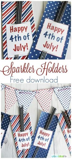 4th of July Printable Sparkler Holders | Great for your Fourth of July Party favors. This free printable makes party planning easy! Designed by UrbanBlissLife for TodaysCreativeLife.com