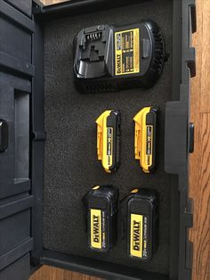 Kaizen inserts in the Dewalt Tough System Trailer Organization, Storage Organization, Dewalt Tough System, Dewalt Power Tools, Mobile Workshop, Workshop Design, Must Have Tools, Professional Tools, Kaizen