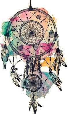 I love dream catchers. As a kid, I would get nightmares, and my mom hung a dream catcher up and my nightmares went away. I don't like many color tattoos, but I like the water color with this. I would get this on my left shoulder blade.