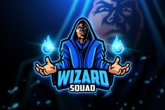, Wizard - Mascot & Esport Logo- Suitable for your personal or squad logo, All elements on this template are editable with adobe illustrator! Editable Text, Before you open the Wizards Logo, Logo Gaming, Fantasy Wizard, Graffiti, Game Logo Design, Esports Logo, E Sport, Black Cartoon, Modern Logo