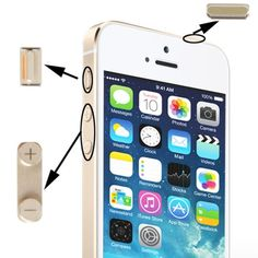 [USD2.99] [EUR2.78] [GBP2.15] New High Quality 3 in 1 Alloy Material (Mute Button + Power Button + Volume Button) for iPhone 5S, Golden