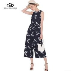 84ac9886cc0 Bella Philosophy 2017 spring summer new women s bird print O-neck  sleeveless belt sashes ankle-length jumpsuits blue