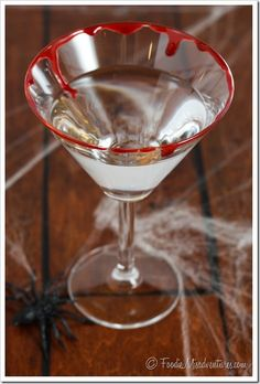 Devils Food Cake Martini - A fun and spooky Halloween cocktail that tastes like chocolate cake and has edible fake blood around the rim!