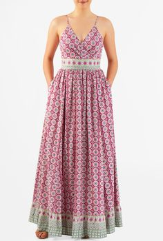 Our graphic floral print cotton maxi dress is designed to flatter and enhance with a pleated surplice bodice, contrast banded highe waist and a ruched pleat full skirt with a ruffle flounce at the hem. Simple Dresses, Casual Dresses, Fashion Dresses, Women's Fashion, Indian Gown Design, Sunmer Dresses, Ikkat Dresses, Western Dresses, Custom Dresses