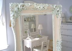 Shabby chic vintage frame pink white by backporchco on Etsy