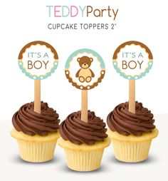 Boy shower cupcake toppers, Printable toppers, Teddy Party, Teddy shower, Boy shower circles, Teddy bear themed, Boy baby shower party de PrintableArtWishes en Etsy https://www.etsy.com/es/listing/549020539/boy-shower-cupcake-toppers-printable