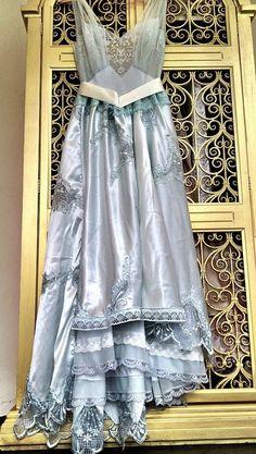 Ice Princess ice blue & white chiffon satin appliqued princess prom dress by mermaid miss k. Vintage Gowns, Vintage Outfits, Vintage Fashion, Satin Dresses, Blue Dresses, Princess Prom Dresses, White Chiffon, Chiffon Dress, Altered Couture