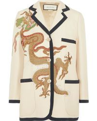 a74d10b50 Gucci - Appliquéd Wool And Silk-blend Blazer - Lyst | women's ...