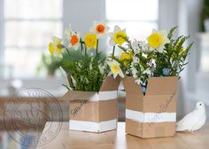 Simple & creative gift wrapping - with spring flowers. #diy