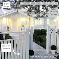 The front fence. Exterior {SATURDAY HOUSE LOVE} The stunning home of . A beautiful home with the details and the extraordinary workmanship and talent of their builders :camera: Exterior Colors, Exterior Paint, Front Yard Fence, Fence Gate, Fence Panels, White Trim, Queenslander, Backyard Fences, Pool Fence