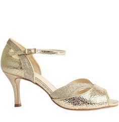 Marlene gold wedding dance shoe #bar-shoe #bridal-sandal #dance-shoe #peep-toe