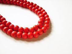 love red coral beads, endangered though Wooden Bead Necklaces, Wood Necklace, Wooden Beads, Red Jewelry, Beaded Jewelry, Beaded Necklace, Jewellery, Lynn Johnson, Red Wood