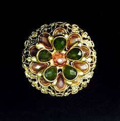 Gold tone Filligree brooch with pink and green by WhirleyShirley, $33.00