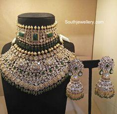 Polki Diamond Choker, Necklace and Jhumkas photo Indian Bridal Jewelry Sets, Indian Jewelry Earrings, Fancy Jewellery, Indian Jewellery Design, Bridal Accessories, Jewelry Design, Bridal Jewellery, Amrapali Jewellery, Bridal Bangles