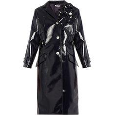 Miu Miu Floral-embellished vinyl coat (173.935 RUB) ❤ liked on Polyvore featuring outerwear, coats, navy, long sleeve coat, blue coat, navy coat, miu miu and miu miu coat